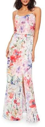 Parker Delphine Watercolor Floral Sleeveless Column Dress with Slit