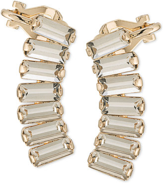 Abs by Allen Schwartz Gold-Tone Rectangle Crystal Ear Climbers $40 thestylecure.com