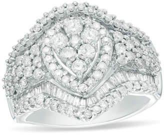 Zales 2 CT. T.W. Composite Diamond Pear-Shaped Frame Multi-Row Ring in 10K White Gold