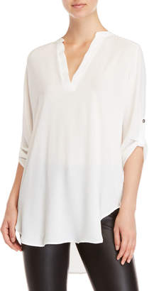 Lush Roll Tab V-Neck Tunic