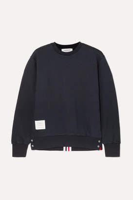 Thom Browne Striped Loopback Cotton-jersey Sweatshirt - Navy