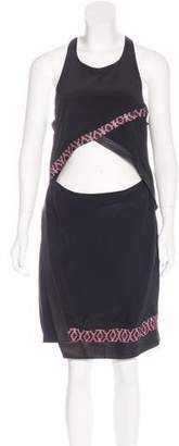 Thakoon Leather Trimmed Silk Dress