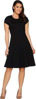 Halston H By H by Petite VIP Ponte Knit Cap Sleeve Fit & Flare Dress