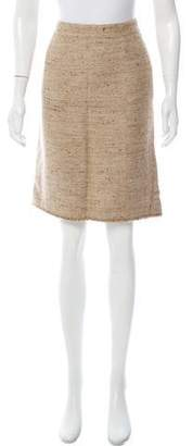 Burberry Knee-Length Tweed Skirt