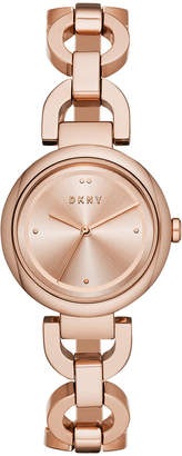 DKNY Women Eastside Rose Gold-Tone Stainless Steel Chain Bracelet Watch 30mm