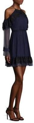 Three floor Frill Seeker Cold-Shoulder A-Line Dress