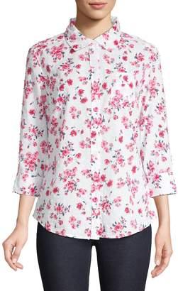 Karen Scott Floral Cotton Button-Down Shirt