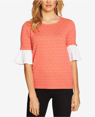 CeCe Embroidered Ruffle-Sleeve Sweater