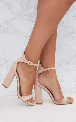 4ecabaf7a PrettyLittleThing Nude Faux Suede Block High Heeled Sandals