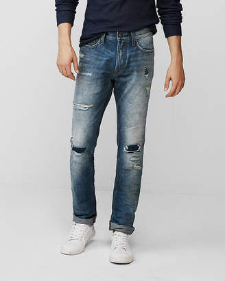 Express Slim Medium Wash Destroyed 100% Cotton Jeans