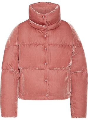 Moncler - Cercis Quilted Velvet Down Jacket - Antique rose $1,295 thestylecure.com