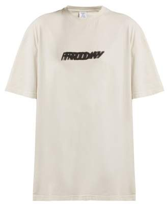 Vetements Friday Print Cotton T Shirt - Womens - Ivory