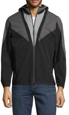 Angle Mesh-Print Hooded Jacket