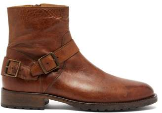 Belstaff Trialmaster Buckled Leather Boots - Mens - Brown