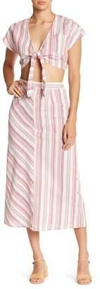 Love + Harmony Front Tie Stripe Crop Top & Skirt 2-Piece Set