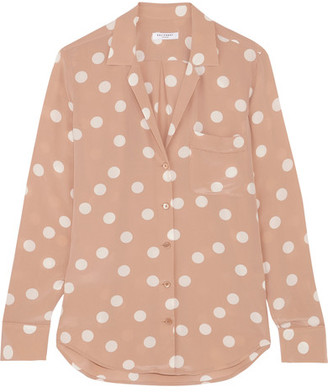 Equipment - Keira Polka-dot Washed-silk Shirt - Blush $270 thestylecure.com