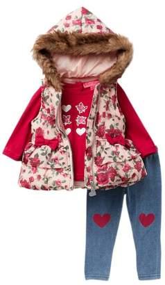 Betsey Johnson Graphic Tee, Faux Fur Trim Floral Puffer Vest, & Jegging Set (Little Girls)