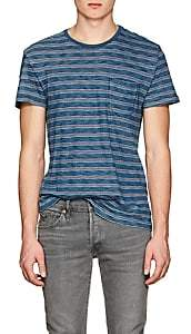Rrl Men's Mixed-Striped Cotton T-Shirt-Black Size M