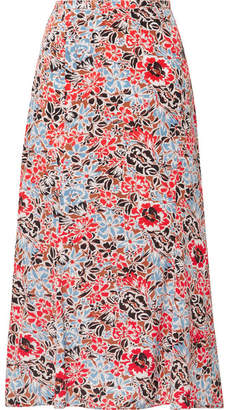 Veronica Beard Diane Floral-print Silk-blend Crepe De Chine Midi Skirt - Red