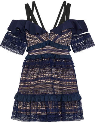 Self-Portrait Cold-shoulder Ruffled Guipure Lace Mini Dress - Navy