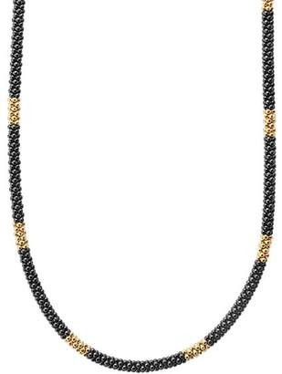 Lagos Gold & Black Caviar Collection 18K Gold & Ceramic Long Station Necklace, 16""