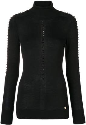 Versace turtle-neck studded sweater