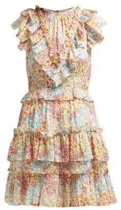 Rebecca Taylor Ava Ruffled Floral Print Silk Blend Dress - Womens - Multi