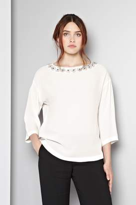 Great Plains Chloe Flower Embellished Tunic Top