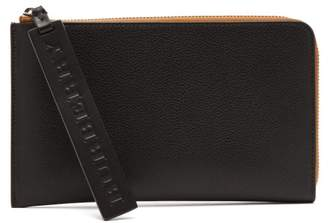 Burberry Zip Around Leather Pouch - Mens - Black