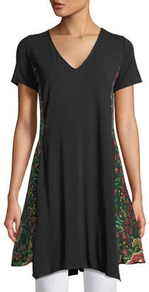 Johnny Was Embry Scarf-Panel Draped Tunic