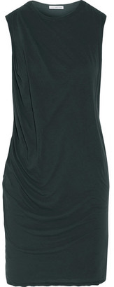 James Perse - Draped Cotton-jersey Mini Dress - Forest green $195 thestylecure.com