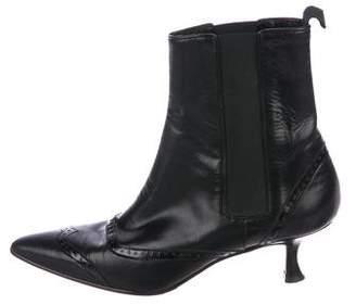 Manolo Blahnik Brogue Leather Booties
