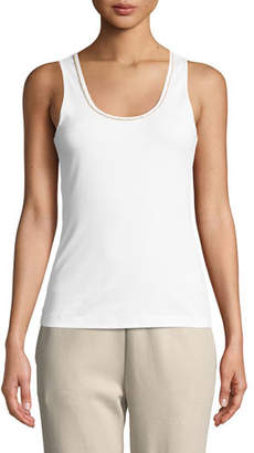 Joan Vass Golden-Chain Sleeveless Cotton Tank Top
