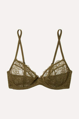 eea2330ac5 Les Girls Les Boys - Daisy Lace Underwired Soft-cup Bra - Army green