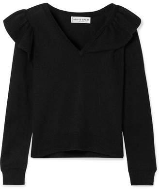 Apiece Apart Linde Ruffled Alpaca Sweater - Black