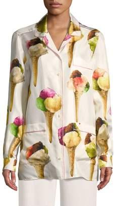 Dolce & Gabbana Women's Silk Ice Cream Print Blouse