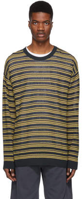 Wooyoungmi Yellow and Navy Striped Oversized Sweater