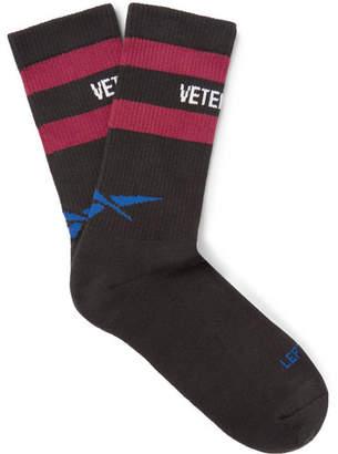 Vetements + Reebok Logo-Intarsia Knitted Socks