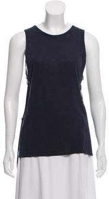 Theyskens' Theory Sleeveless Leather-Accented Fringe Top