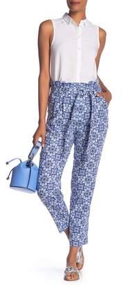 Rachel Roy Tile Patterned Straight Leg Linen Blend Pants