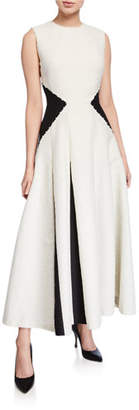 Lela Rose Two-Tone Godet Skirt Midi Dress