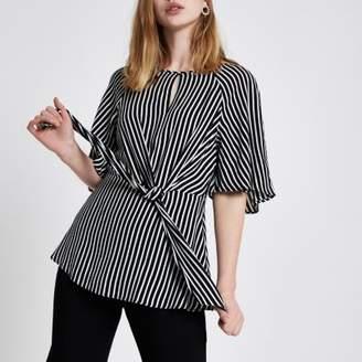River Island Womens Black short sleeve stripe tie front blouse