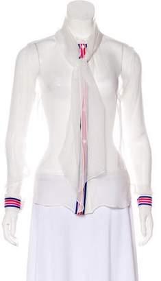 Mary Katrantzou Sheer Button-Up Top