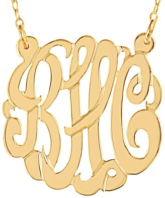 """24K Plated 7/8"""" Personalized Script Monogram Necklace"""