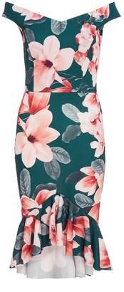Quiz Green & Pink Floral Frill Bardot Dress