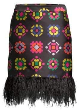 Milly Geometric Jacquard Fringe Pencil Skirt