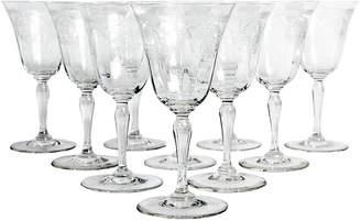 One Kings Lane Vintage Etched Crystal Glassware - Set of 10 - La Maison Supreme