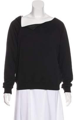 Saint Laurent Leather-Trimmed Asymmetrical Sweatshirt