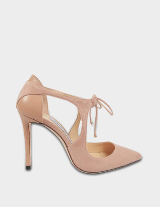 Jimmy Choo Vanessa 100 Suede Tie Up Pumps in Ballet Pink Suede and Nappa Leathers