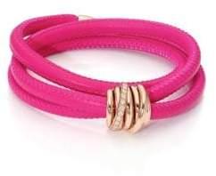 de GRISOGONO Allegra Diamond, 18K Rose Gold& Leather Wrap Bracelet/Passion